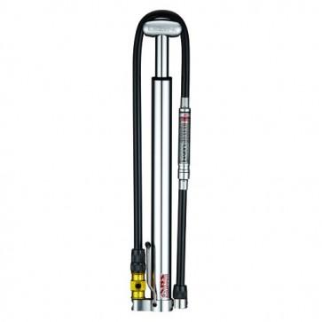 Lezyne Micro Floor Drive HPG Pumpe mit Luftdruckmesser Silber