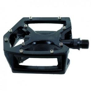 fahrschneller.de Pedale, MTB/BMX, schwarz, Plattformpedal mit austauschbaren Pins,
