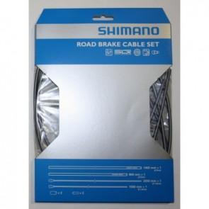 Shimano Bremszugset RACE vorn & hinten grau incl. Hülsen und Endkappen (Hs