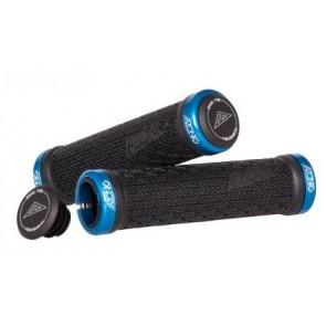 Azonic Griffe MTB Schraubgriffe Log Grip blau anodisierte Alu-Lockons 130mm