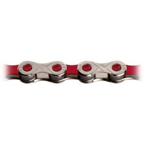 KMC, Kette, X-10 VIVID RED, für 10-fach, silber-rot, 114 Glieder, für Shi