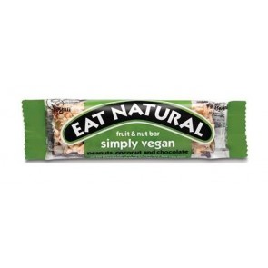 EAT NATURAL Nussriegel Simply Vegan aus dunkler Schokolade Erdnüssen Kokos